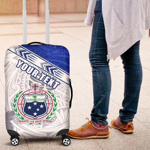 (Custom Personalised) Samoa Rugby Luggage Covers Spirit Manu Samoa White K13