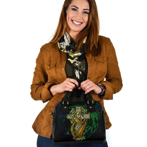 Ireland Celtic Shoulder Handbag  - Ireland Coat Of Arms with Celtic Cross