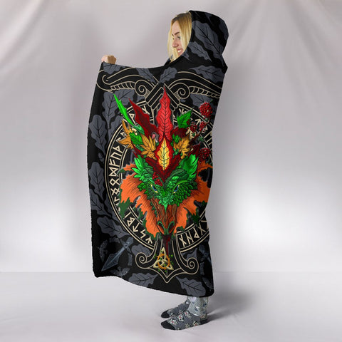 Celtic Lughnasadh Autumn Dragon Hooded Blanket - Celtic Autumn Leaf Pattern - BN21