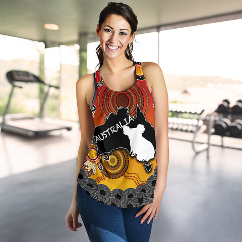 Australia Aboriginal Women's Racerback Tank With Map TH4
