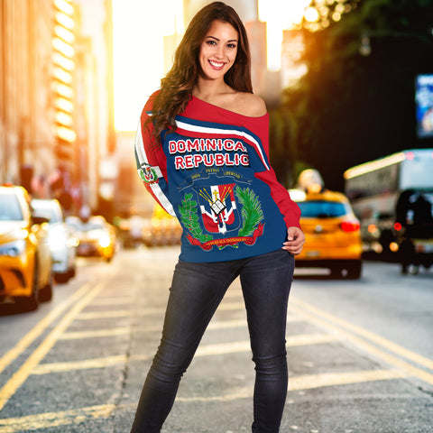 Dominican Republic Women Off Shoulder Sweater - Vibes Version K8