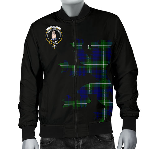 Lamont Tartan Lion And Thistle Bomber Jacket for Men TH8
