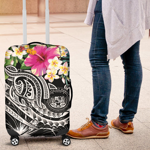 Image of Polynesian Hawaii Luggage Covers - Summer Plumeria (Black)