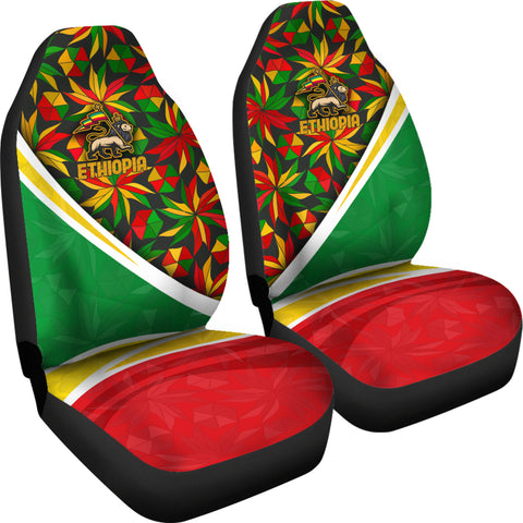 1stTheWorld Ethiopia Car Seat Covers, Ethiopia Lion Of Judah Flag Rasta A10
