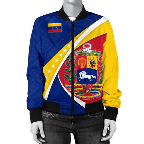1stTheWorld Venezuela Bomber Jacket, Venezuela Coat Of Arms Pattern Women A10