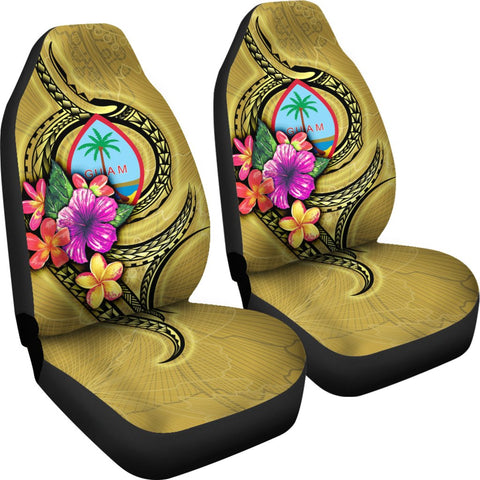 Guam Polynesian Car Seat Covers - Floral With Seal Gold - BN12