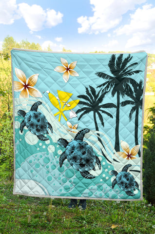 Hawaii Premium Quilt - Blue Turtle Hibiscus A24