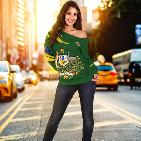 Image of 1stTheWorld Australia Women's Off Shoulder Sweater, Australia Coat Of Arms Green A10