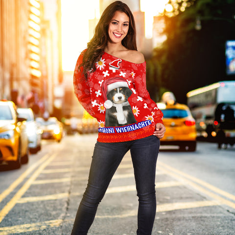 Image of Christmas Edelweiss Switzerland Off Shoulder Sweater Bernese Mountain Dog K13