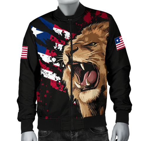 Image of Liberia Bomber Jacket, Liberia Rasta Lion Flag Men A10