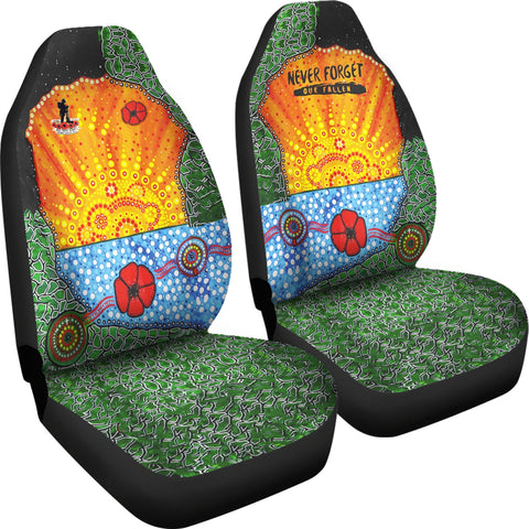 Aboriginal Australian Anzac Day Car Seat Covers - Lest We Forget Poppy 4