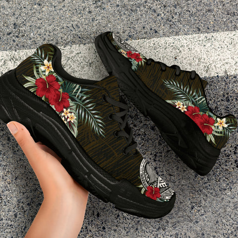 Image of American Samoa Hibiscus (Men - Women) Chunky Sneakers A7