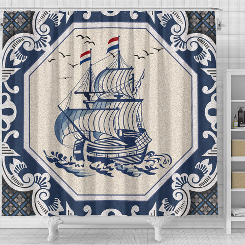 Netherland Shower Curtain - Dutch Boat Delft Blue A18