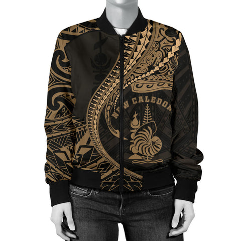 New Caledonia Women's Bomber Jacket Kanaloa Tatau Gen NC (Gold) TH65