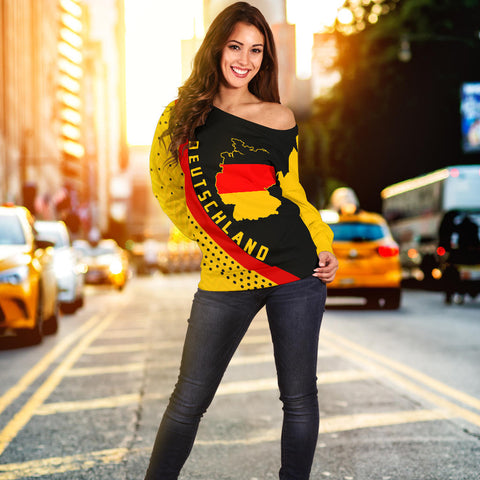 Germany Map Generation II Off Shoulder Sweater K6 - Black and Yellow - Front - for Women