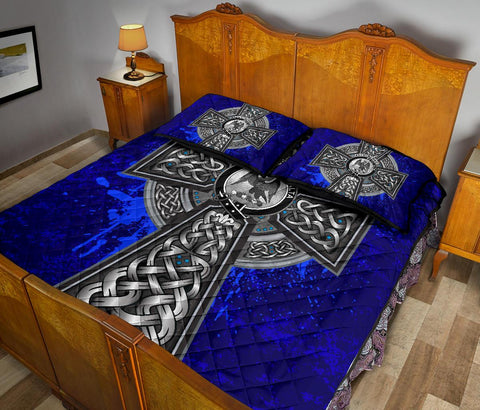 Image of Abercrombie Crest Scottish Celtic Cross Scotland Quilt Bed Set | Over 300 Clans | Home Set