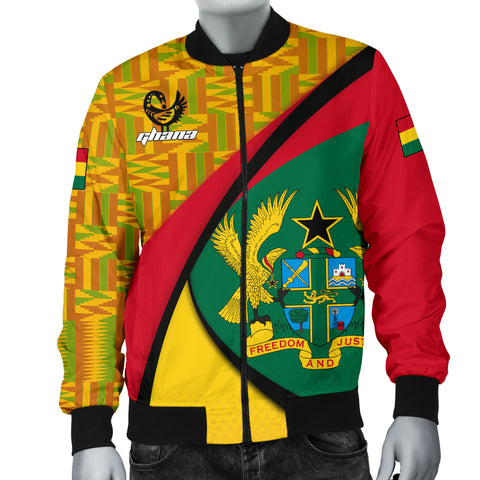 1stTheWorld Ghana Bomber Jacket, Ghana Coat Of Arms Pattern Men A10