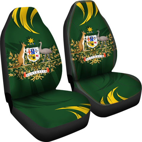 1stTheWorld Australia Car Seat Covers, Australia Coat Of Arms Green A10
