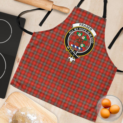Image of Fraser Weathered Tartan Clan Crest Apron HJ4