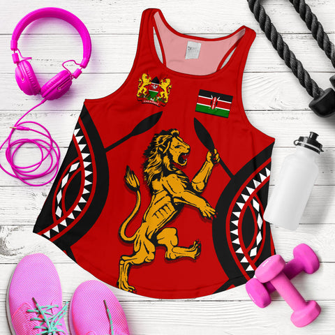 Image of Kenya Lion Women Racerback Tank Maasai Shield | CLothing | Love Kenya