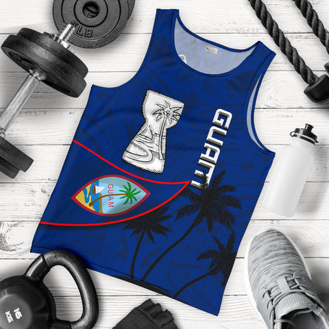 Guam Latte Stone Men Tank Top Flag Over Ocean K4