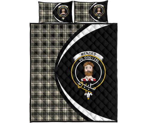 Menzies Black & White Ancient Tartan Quilt Bed Set Circle HJ4