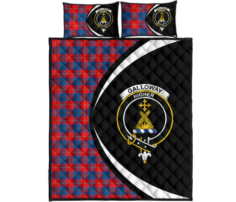 Image of Galloway Red Tartan Quilt Bed Set Circle HJ4