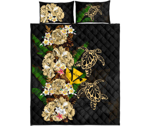 Kanaka Maoli (Hawaiian) Quilt Bed Set - Polynesian Hibiscus Turtle Palm Leaves Gold I Love The World