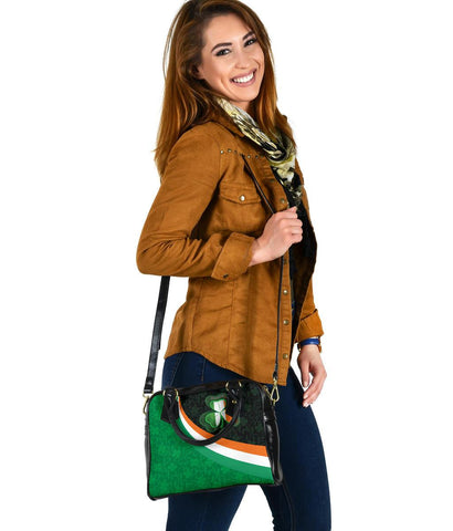 Ireland Celtic Shoulder Handbag - Irish Flag with Shamrock Patterns