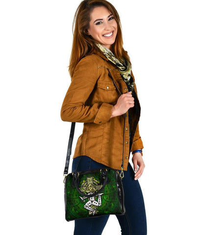 Isle of Man Celtic Shoulder Handbag- Triskelion With Celtic Cross (Green)