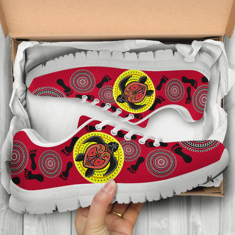 Australia Aboriginal Sneakers, Turtle Footprint Circle Dot Painting Ver 11