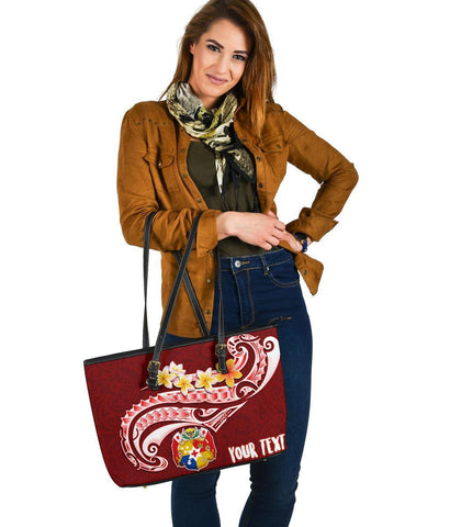Tonga Personalised  Leather Tote Bag - Tonga Coat Of Arms With Polynesian Patterns