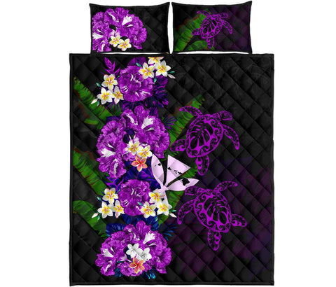Kanaka Maoli (Hawaiian) Quilt Bed Set - Polynesian Hibiscus Turtle Palm Leaves Purple I Love The World