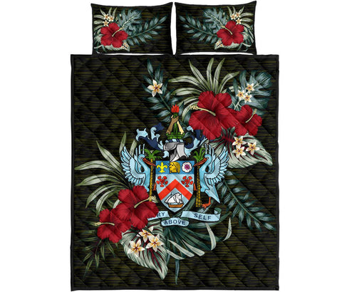 Saint Kitts and Nevis Quilt Bed Set - Special Hibiscus | Home Set | Home Decor