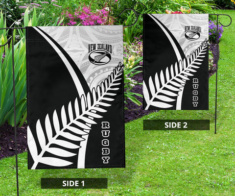 Image of New Zealand Rugby Flag - New Zealand Fern & Maori Patterns