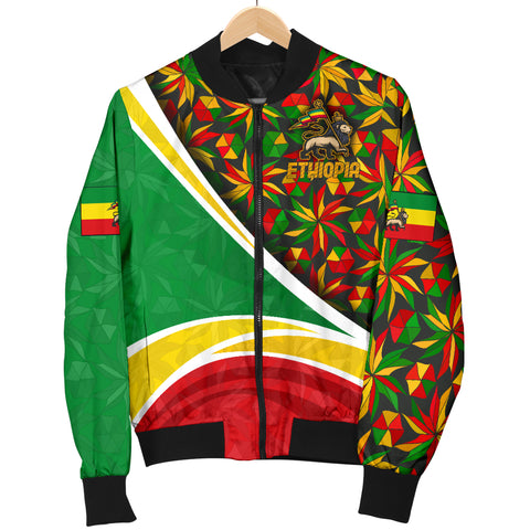 Image of 1stTheWorld Ethiopia Bomber Jacket, Ethiopia Lion Of Judah Flag Rasta Women A10