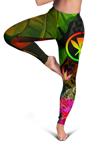 Image of Polynesian Hawaii Kanaka Maoli Polynesian Women's Leggings -  Hibiscus and Banana Leaves
