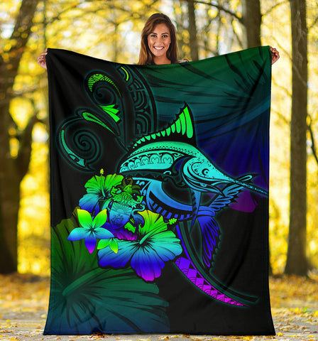 The Bahamas Premium Blanket - Colorful Marlin and Hibiscus A18