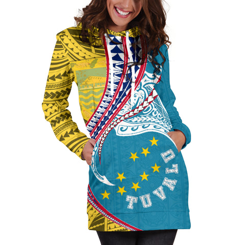 Tuvalu Women's Hoodie Dress Manta Polynesian Coat Of Arms TH65