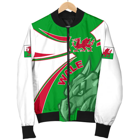 1stTheWorld Wales Bomber Jacket, Wales Round Dragon Red Men A10