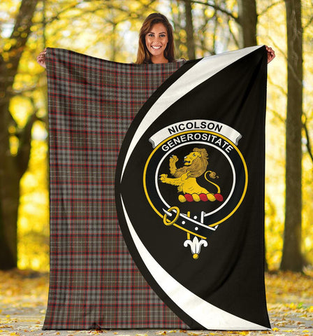 Nicolson Hunting Weathered Tartan Clan Crest Premium Blanket Circle Hj4