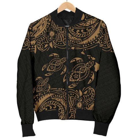Image of Hawaii Polynesian Men's Bomber Jacket - Gold Sea Turtle
