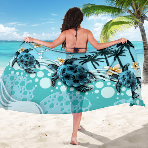 Cook Islands Sarong - Blue Turtle Hibiscus A24