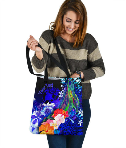 Tonga Custom Personalised Tote Bags - Humpback Whale with Tropical Flowers (Blue)