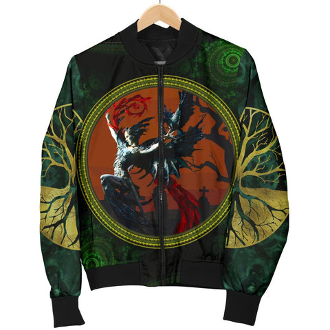 Image of Men's Morrígan Bomber Jacket - Celtic Style - Morrígan Goddess - BN21