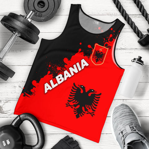 Image of Albania Men Tank Top Red Braved Version K12