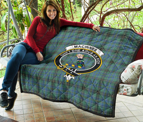 MacInnes Ancient Tartan Clan Badge Premium Quilt | 1sttheworld.com