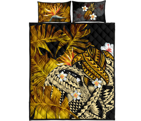 Kanaka Maoli (Hawaiian) Quilt Bed Set, Polynesian Pineapple Banana Leaves Turtle Tattoo Yellow A02