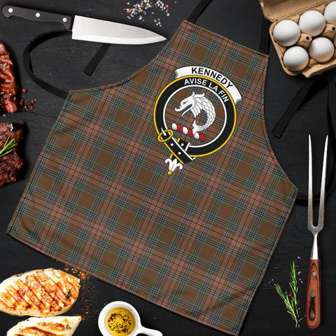 Kennedy Weathered Tartan Clan Crest Apron HJ4