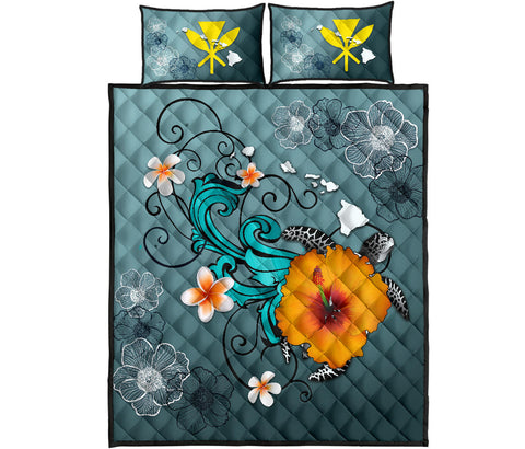Hawaii Quilt Bed Set - Map Turtle Hibiscus | Love The World